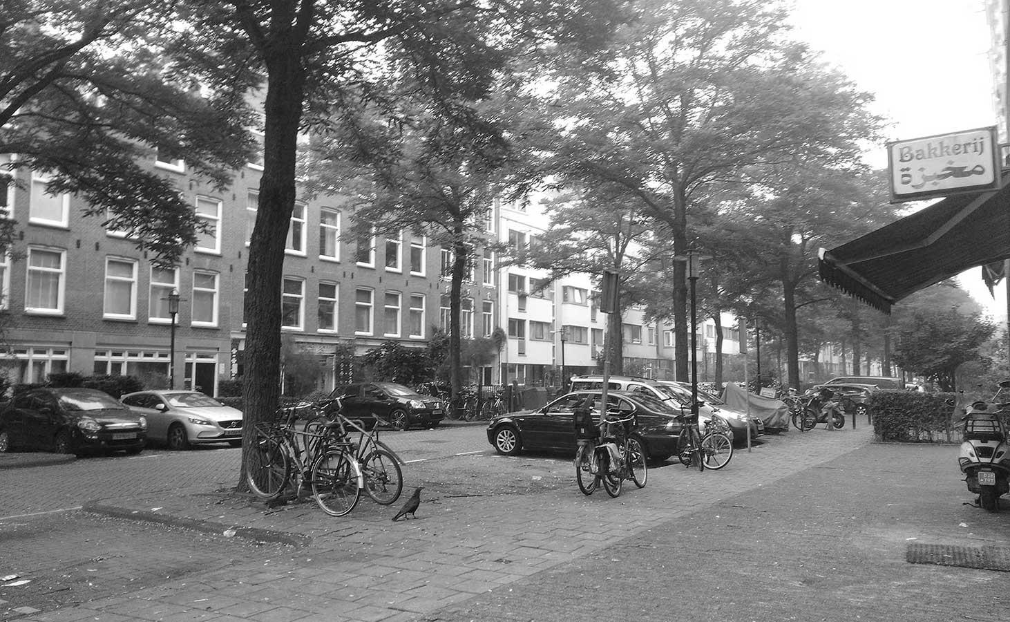 Zwart-wit foto van de eerste helft Commelinstraat geschoten vanaf Dapperstraat-kant.