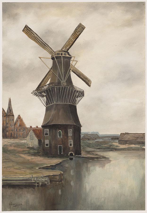 Schilderij van Berlage van de Gooyer met zicht op Funenkade