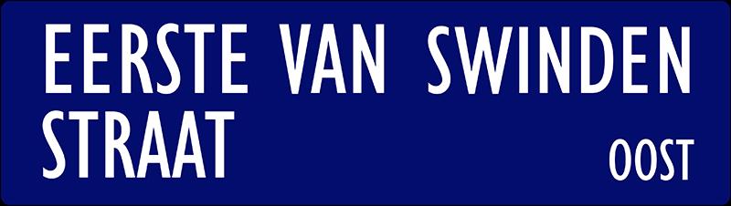 straatnaambordje eerste van swindenstraat