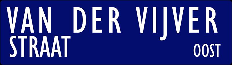straatnaambordje van der vijverstraat