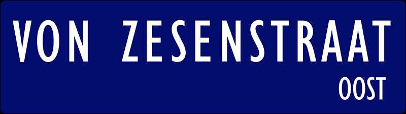 straatnaambordje von zesenstraat