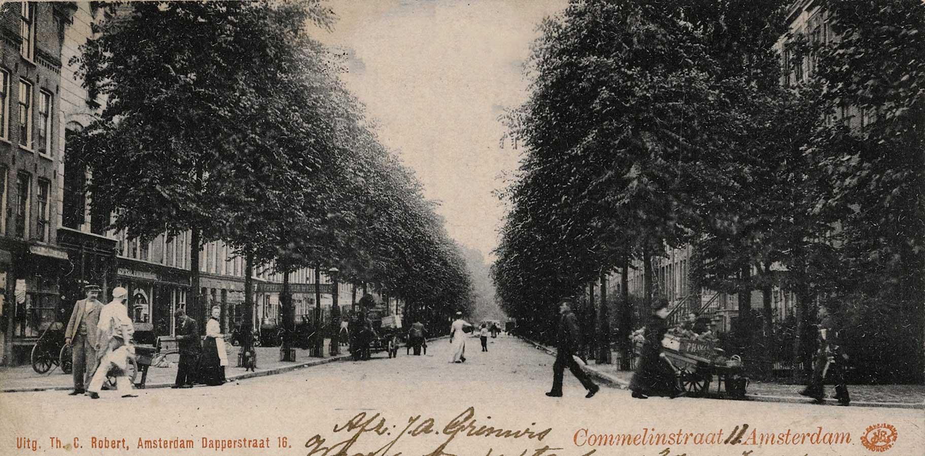 Oude briefkaart van Commelinstraat in 1910 met bomenrijen aan weerszijden. Verschillende mensen lopen op straat.