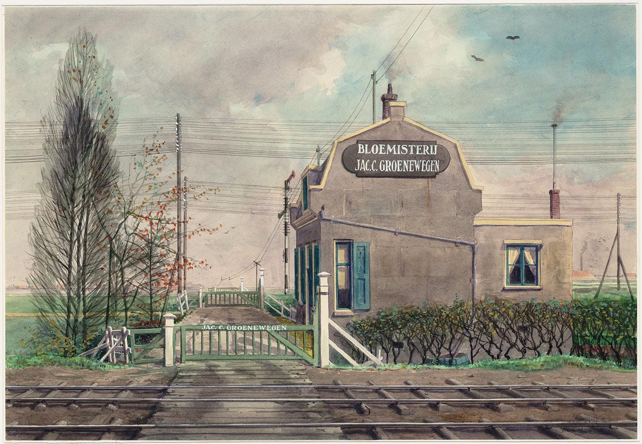Schilderij van spoorwegovergang bij oude Muiderpoortstation