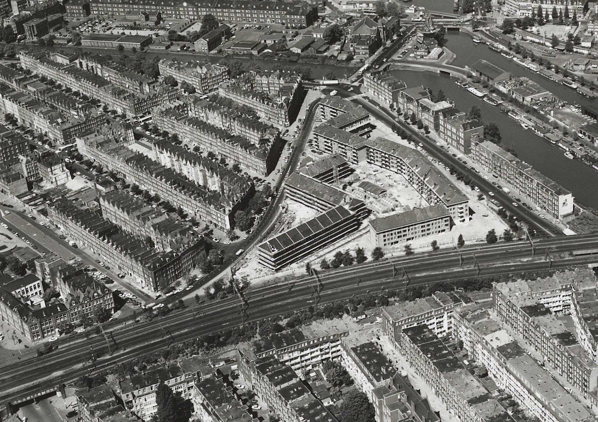 Luchtfoto met zicht op de roomtuintjes
