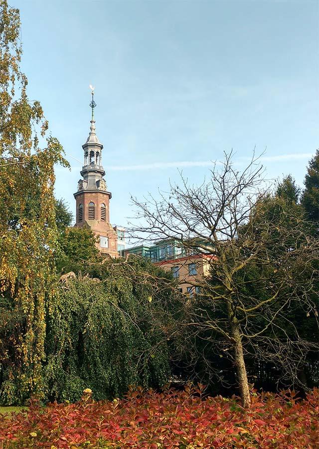 Toren van Muiderkerk gezien vanaf Oosterpark in herfst