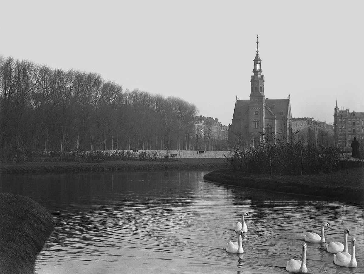 sfeervolle foto van Oosterpark met 6 zwanen in vijver en Muiderkerk op achtergrond
